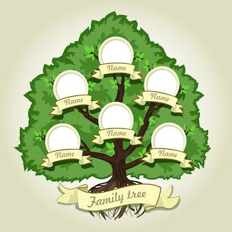 Genealogical family tree on gray