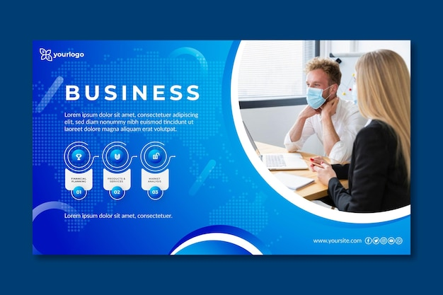General business banner template with photo