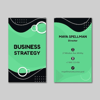 Вертикальная двусторонняя визитка для бизнеса