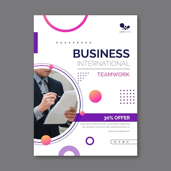 General business flyer template with photo