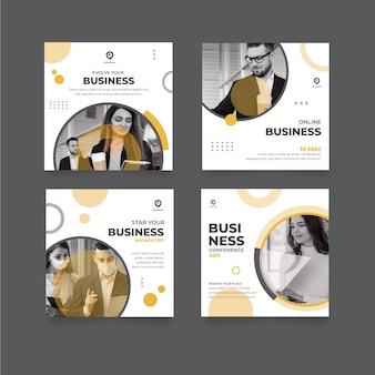 一般的なビジネスinstagramの投稿セット
