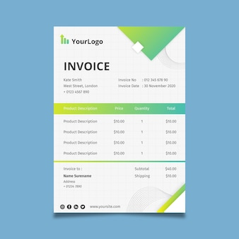 General business invoice corporate template