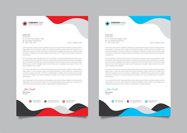 General business letterhead template with red and blue wavy shape