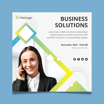 一般的なビジネスソリューションスクエアフライヤー企業テンプレート