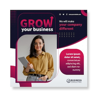 General business squared flyer template
