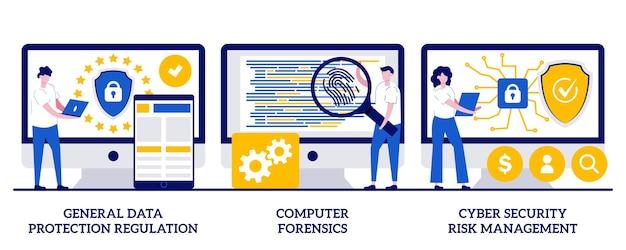 일반 데이터 보호 규정, 컴퓨터 법의학, 작은 사람들과의 사이버 보안 위험 관리 개념. 정보 제어 및 보안 추상적인 벡터 일러스트 레이 션을 설정합니다.