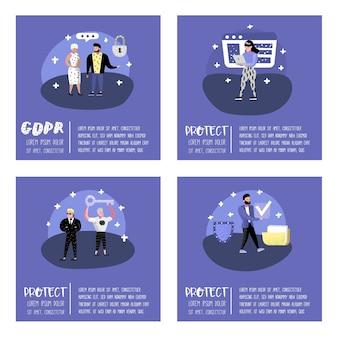 Общая концепция регулирования защиты данных с символами для плаката