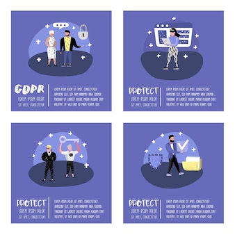 General data protection regulation concept with characters for poster