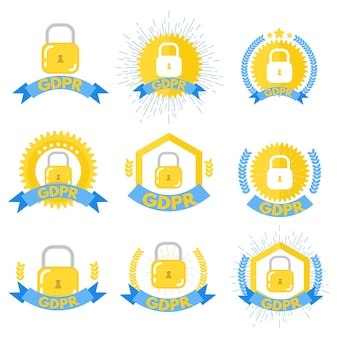 General data protection regulation - gdpr logos set. vector illustration.
