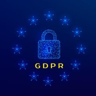 Замок и звезды общего регламента защиты данных (gdpr) на синем фоне. иллюстрация