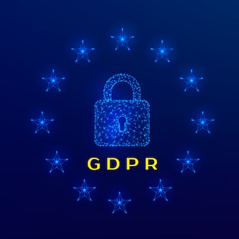 General data protection regulation (gdpr) padlock and stars on blue background.  illustration