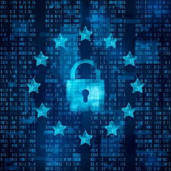 Общие правила защиты данных - gdpr. символ замка, данные защищены. звезды на синем фоне матрицы. иллюстрация