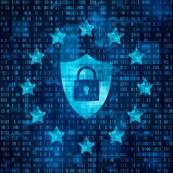 Общие правила защиты данных - gdpr. шилд с замком, данные защищены. звезды на синем фоне матрицы. иллюстрация