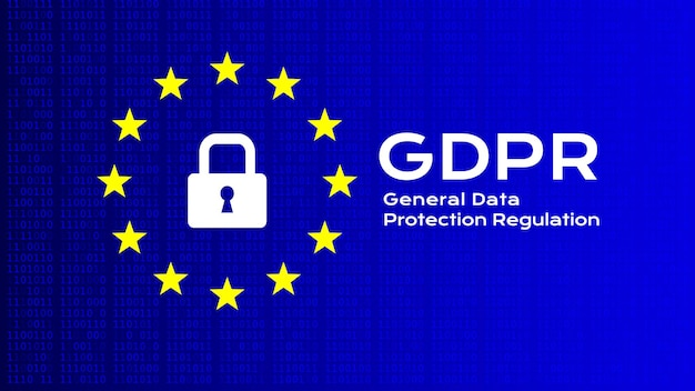 General data protection regulation. vector background with text and icons.