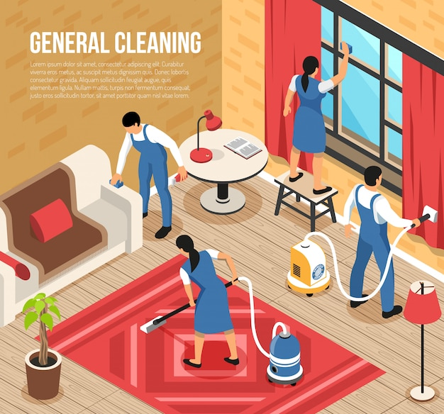 General house cleaning service isometric composition with professional team using industrial vacuum-cleaners quality squeegee vector illustration