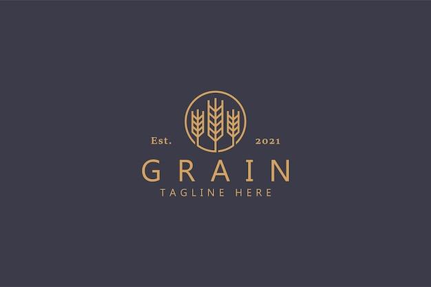 General logo universal farm field wheat or grain on the circle. retro badge graphic identity template design.