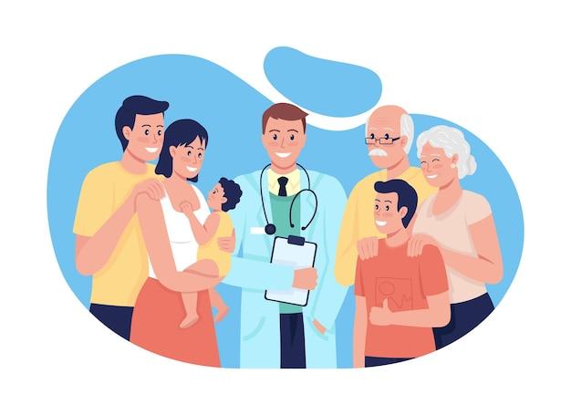 모든 연령대의 사람들을 위한 일반 의료 2d 벡터 격리된 그림입니다. 만화 배경에서 온 가족 평면 캐릭터를 위한 건강 관리를 제공합니다. 종합 의료 다채로운 장면