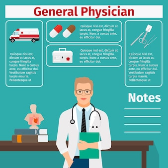 General physician and medical equipment template