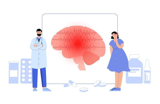 전신 발작 또는 부분 발작. 간질 및 비정상적인 뇌 활동. 인간의 머리에 통증이나 편두통