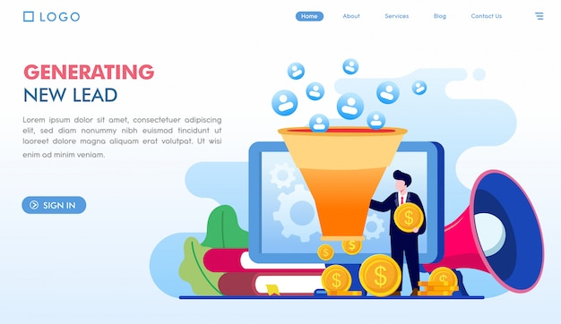 Generating new lead landing page