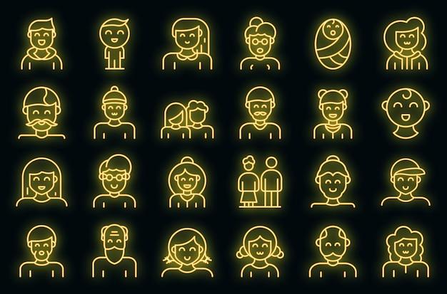 Generation icons set vector neon