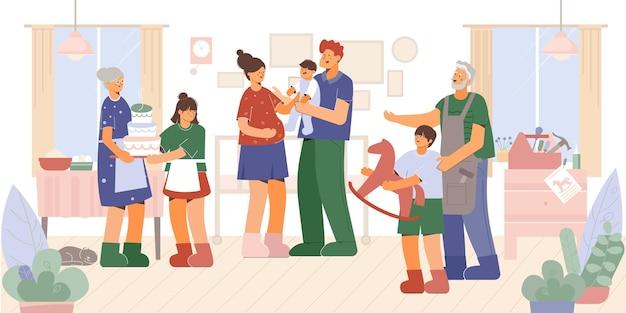 Поколение семьи дома