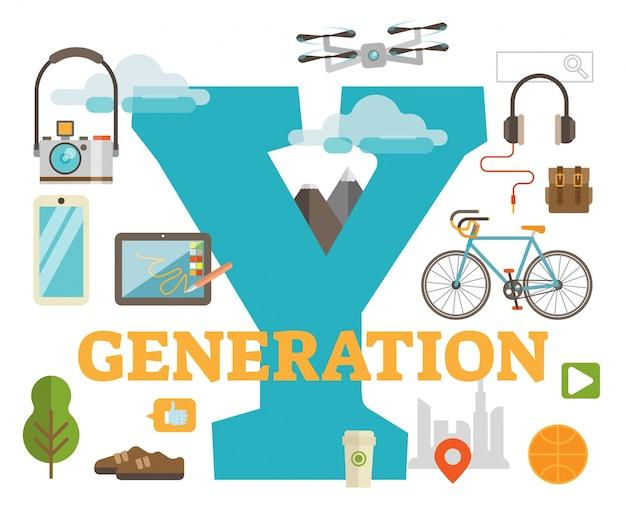 Название поколения y. сцена, показывающая тысячелетние тематические объекты и большую букву y