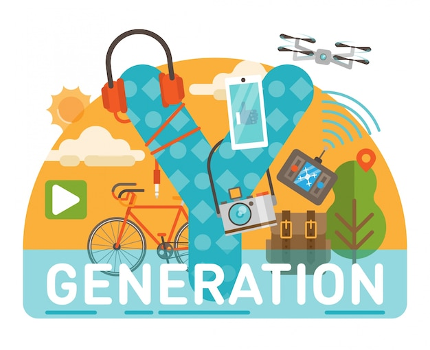 Generation y themed title.  scene showing millennial themed objects and a large letter y