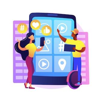 Z世代の抽象的な概念図。ハイパーコネクテッドワールド、タブレット、モバイルデバイス、ソーシャルメディア、モバイルバンキング、パーソナルファイナンス、若者の子供時代。
