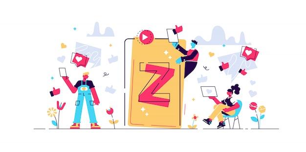 Z 세대 그림. 가상 작은 사람 메시징 개념. 진보적 인 젊은이 세대를 가진 새롭고 현대적인 인구 통계 동향. 십대에게 기술 영향. 온라인 친구 라이프 스타일.