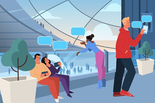 Generation z representation. social group concept, generation type. young people spending time in virtual reality. modern demography , social media influence.  illustration .