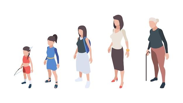 세대 사람들. 아이, 소녀, 여자, 어머니 및 할머니 캐릭터.
