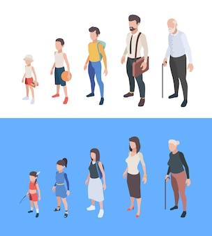 Generations persons. male and female characters boys and girls man woman mother father seniors