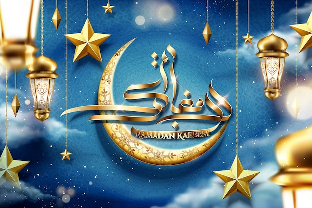 Generous holiday written in arabic calligraphy ramadan kareem with golden crescent and fanoos on night sky