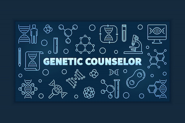 Genetic counselor blue linear banner or illustration