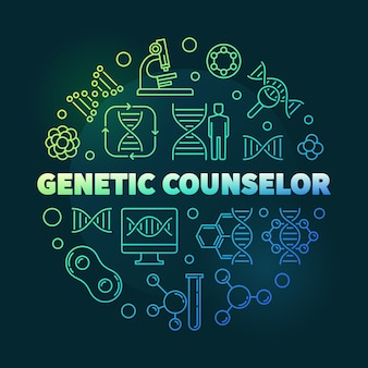 Genetic counselor round colorful outline icon illustration