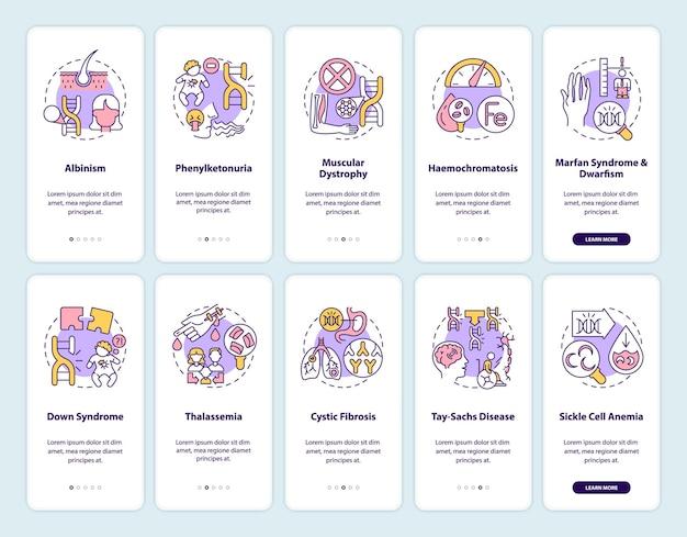 遺伝子疾患のオンボーディング モバイル アプリのページ画面とコンセプト