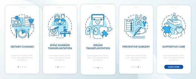 遺伝性疾患治療の青いオンボーディング モバイル アプリのページ画面とコンセプト