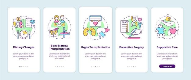 遺伝子疾患治療のオンボーディング モバイル アプリのページ画面とコンセプト