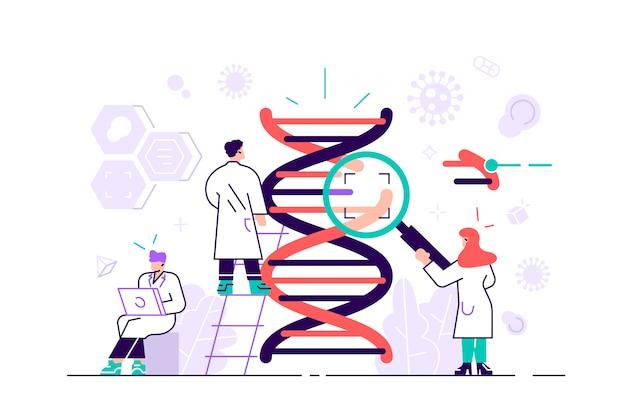 유전자 dna 과학 그림 개념입니다. 랜딩 페이지, ui, 웹, 앱 소개 카드, 광고 문안, 전단지 및 배너에 적합한 dna를 조사하는 과학자 그룹을 보여줍니다. 플랫 스타일