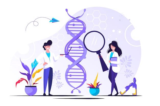 유전자 dna 과학. dna를 조사하는 과학자 표시