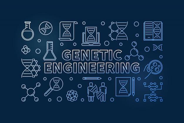 Генная инженерия синий контур иллюстрации