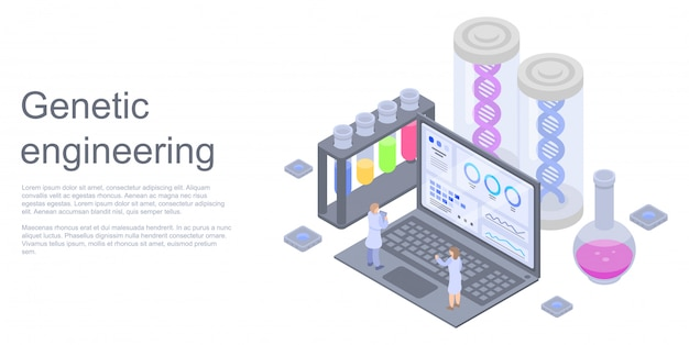 Genetic engineering concept banner, isometric style
