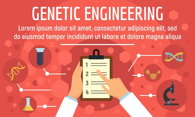 Genetic engineering concept banner template, flat style