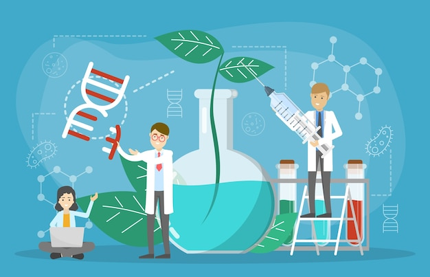 Genetic engineering concept. gmo food. biology and chemistry