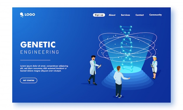Genetic engineering concept landing page design