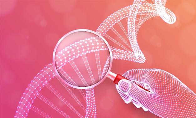 Концепция генной инженерии с лупой в руке и кодовой последовательности днк. каркасная структура молекулы днк.