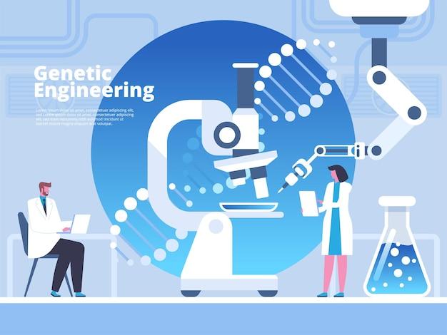 Genetic engineering flat banner vector template. scientists, doctors cartoon characters