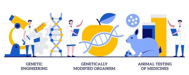 Генная инженерия, генетически модифицированный организм, испытание концепции лекарств на животных с крошечными людьми. набор абстрактных векторных иллюстраций биотехнологии. трансгенный организм, метафора лабораторного эксперимента.