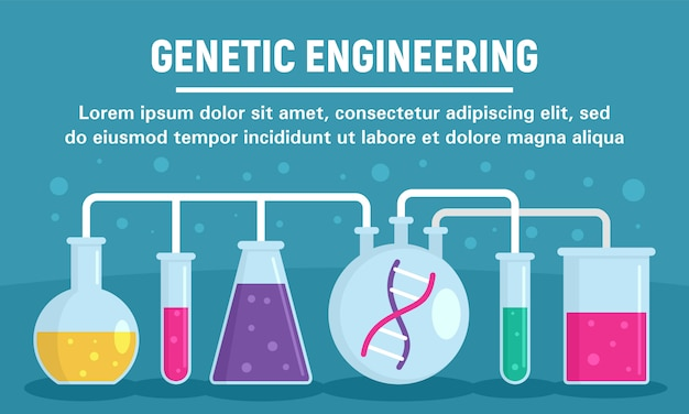 Genetic engineering glass pots concept banner template, flat style